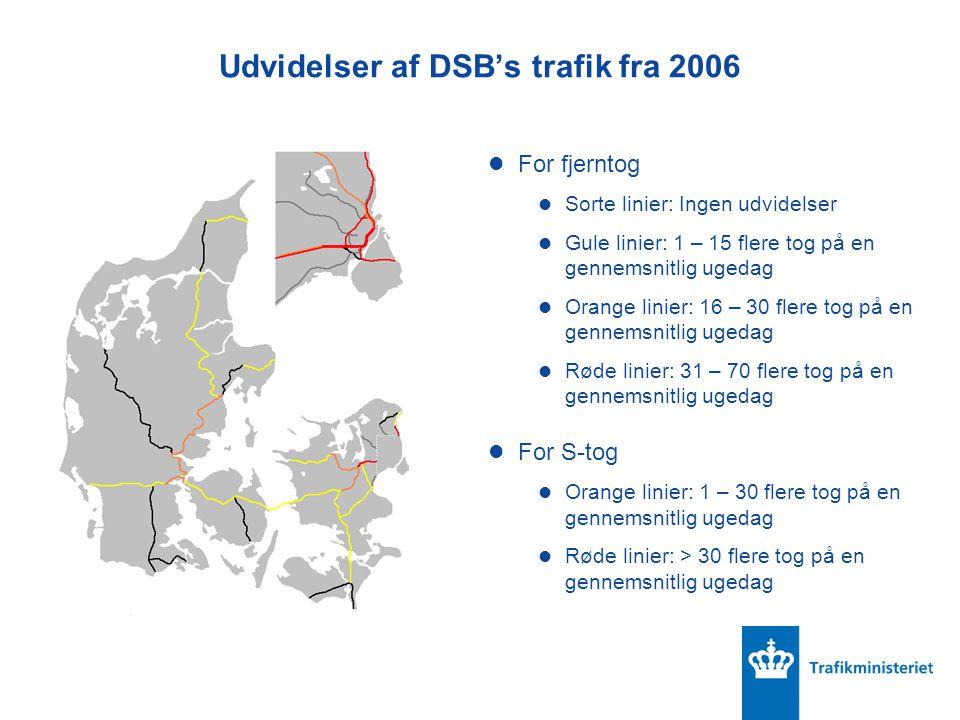 Udvidelser af DSB's trafik fra 2006 For fjerntog Sorte linier: Ingen udvidelser Gule linier: 1 – 15 flere tog på en gennemsnitlig ugedag Orange linier: 16 – 30 flere tog på en gennemsnitlig ugedag Røde linier: 31 – 70 flere tog på en gennemsnitlig ugedag For S-tog Orange linier: 1 – 30 flere tog på en gennemsnitlig ugedag Røde linier: > 30 flere tog på en gennemsnitlig ugedag