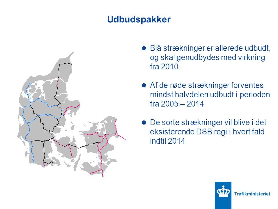 Udbudspakker Blå strækninger er allerede udbudt, og skal genudbydes med virkning fra 2010.