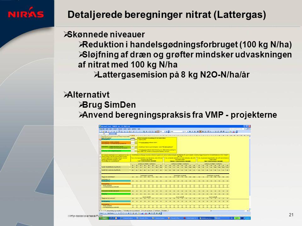I:\inf\pr-toolbox\overheads\Firmapresentation_nov2005.ppt 21 Detaljerede beregninger nitrat (Lattergas)  Skønnede niveauer  Reduktion i handelsgødningsforbruget (100 kg N/ha)  Sløjfning af dræn og grøfter mindsker udvaskningen af nitrat med 100 kg N/ha  Lattergasemision på 8 kg N2O-N/ha/år  Alternativt  Brug SimDen  Anvend beregningspraksis fra VMP - projekterne