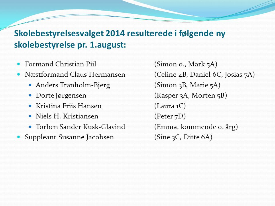 Skolebestyrelsesvalget 2014 resulterede i følgende ny skolebestyrelse pr.