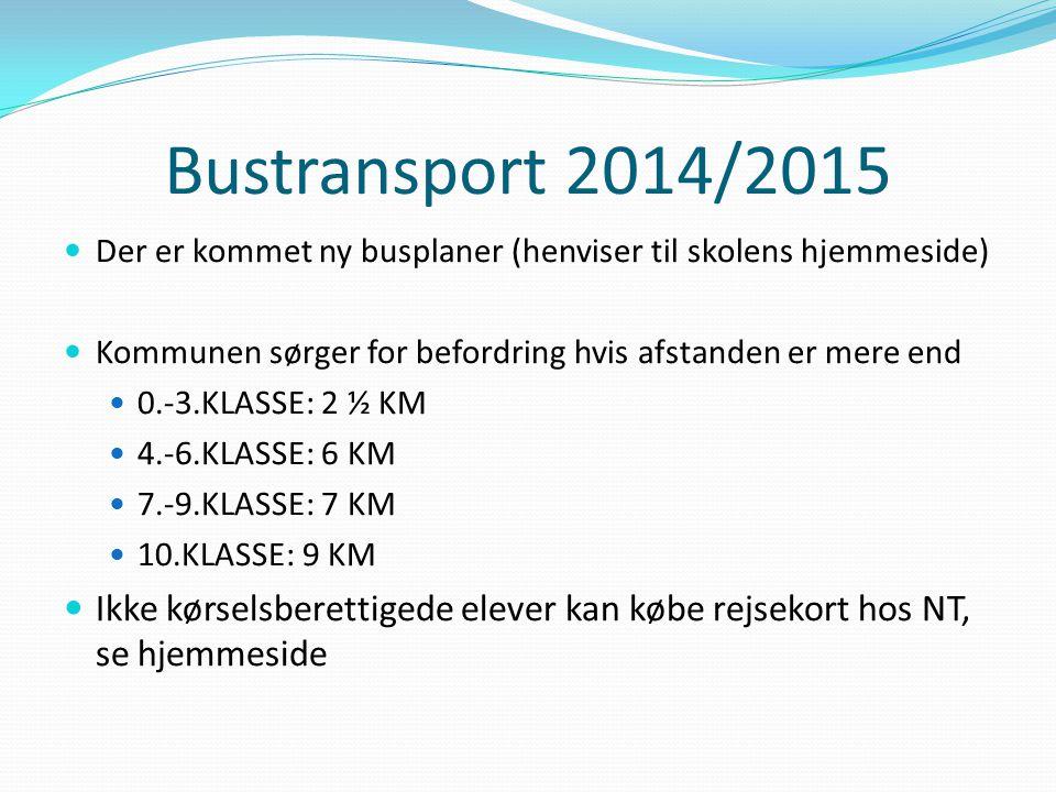 Bustransport 2014/2015 Der er kommet ny busplaner (henviser til skolens hjemmeside) Kommunen sørger for befordring hvis afstanden er mere end 0.-3.KLASSE: 2 ½ KM 4.-6.KLASSE: 6 KM 7.-9.KLASSE: 7 KM 10.KLASSE: 9 KM Ikke kørselsberettigede elever kan købe rejsekort hos NT, se hjemmeside