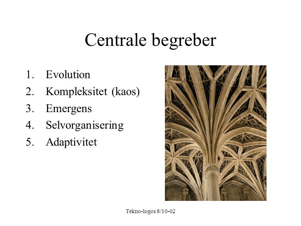 Tekno-logos 8/10-02 Centrale begreber 1.Evolution 2.Kompleksitet (kaos) 3.Emergens 4.Selvorganisering 5.Adaptivitet