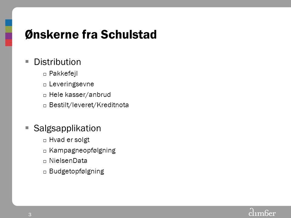 3 Ønskerne fra Schulstad  Distribution  Pakkefejl  Leveringsevne  Hele kasser/anbrud  Bestilt/leveret/Kreditnota  Salgsapplikation  Hvad er solgt  Kampagneopfølgning  NielsenData  Budgetopfølgning