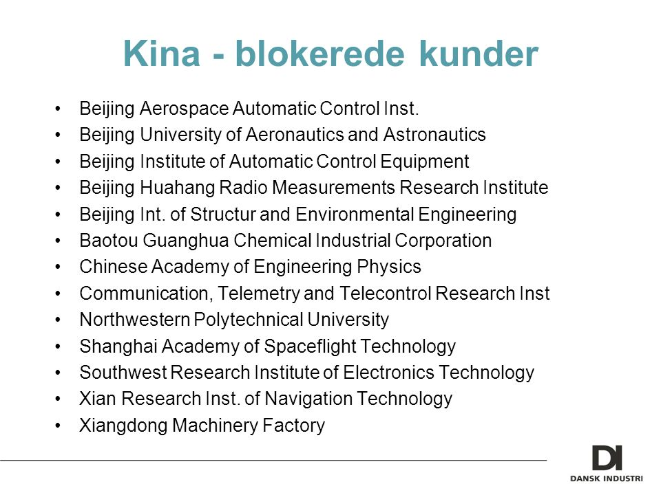 Kina - blokerede kunder Beijing Aerospace Automatic Control Inst.