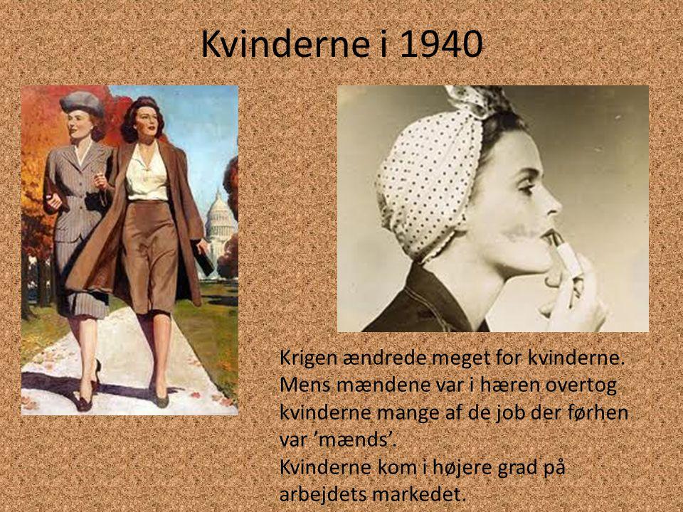 Kvinderne i 1950 Efter krigen var antallet af kvinder i arbejde faldet drastisk men i 50'erne steg tallene igen.
