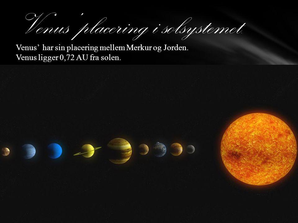 Data: rotation: Venus tager 243 dage om at dreje en omgang om sin akse, og det tager næsten 225 dage at rejse en gang rundt om Solen i kredsløb.