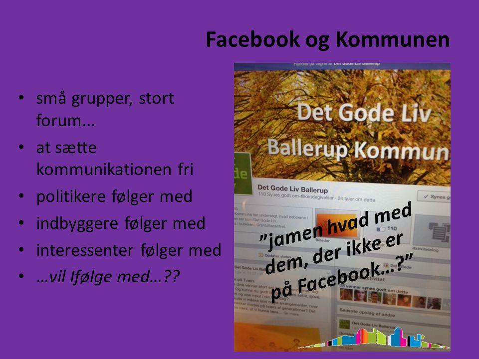Facebook og Kommunen små grupper, stort forum...