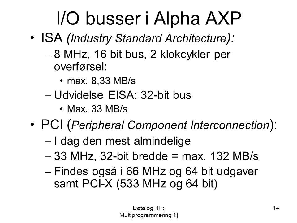 Datalogi 1F: Multiprogrammering[1] 14 I/O busser i Alpha AXP ISA ( Industry Standard Architecture ): –8 MHz, 16 bit bus, 2 klokcykler per overførsel: max.