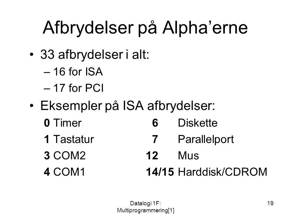 Datalogi 1F: Multiprogrammering[1] 19 Afbrydelser på Alpha'erne 33 afbrydelser i alt: –16 for ISA –17 for PCI Eksempler på ISA afbrydelser: 0 Timer 6 Diskette 1 Tastatur 7 Parallelport 3 COM212 Mus 4 COM114/15 Harddisk/CDROM