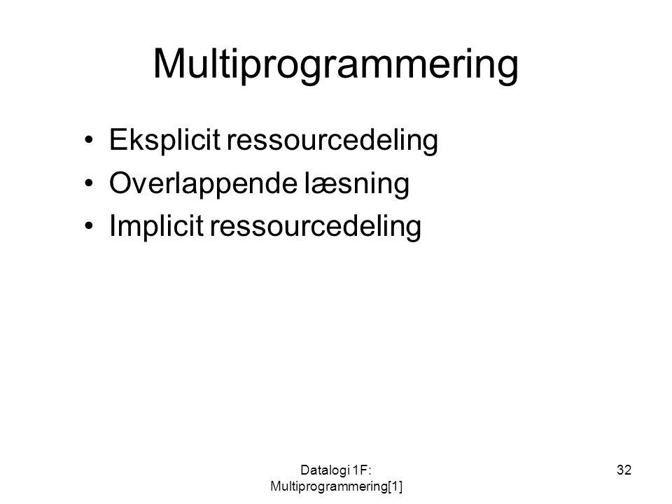 Datalogi 1F: Multiprogrammering[1] 32 Multiprogrammering Eksplicit ressourcedeling Overlappende læsning Implicit ressourcedeling