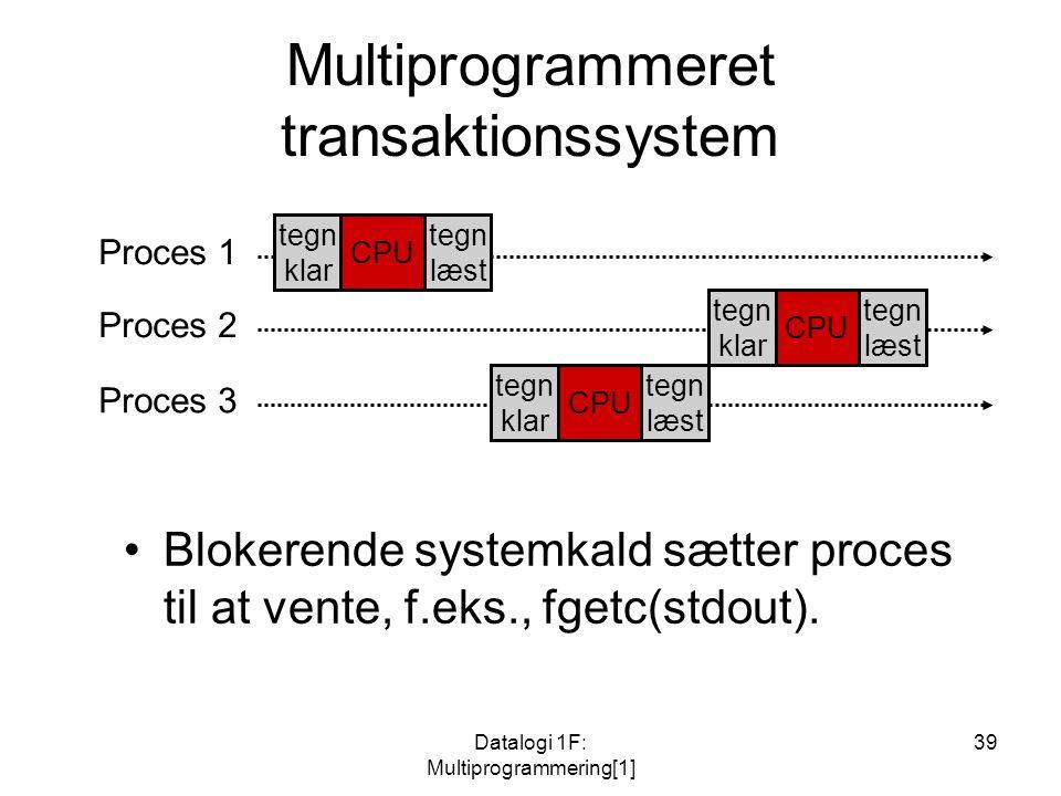 Datalogi 1F: Multiprogrammering[1] 39 Multiprogrammeret transaktionssystem Proces 1 Proces 3 Proces 2 tegn klar CPU tegn læst tegn klar CPU tegn læst tegn klar CPU tegn læst Blokerende systemkald sætter proces til at vente, f.eks., fgetc(stdout).