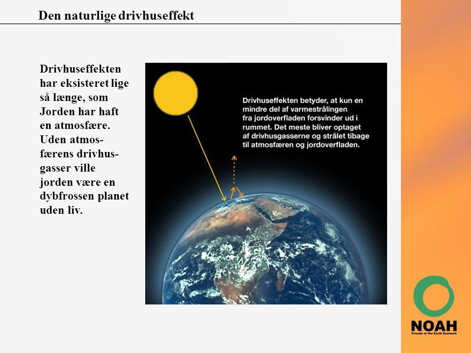 Den naturlige drivhuseffekt Drivhuseffekten har eksisteret lige så længe, som Jorden har haft en atmosfære. Uden atmos- færens drivhus- gasser ville j