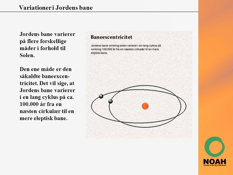 Variationer i Jordens bane Jordens bane varierer på flere forskellige måder i forhold til Solen. Den ene måde er den såkaldte baneexcen- tricitet. Det
