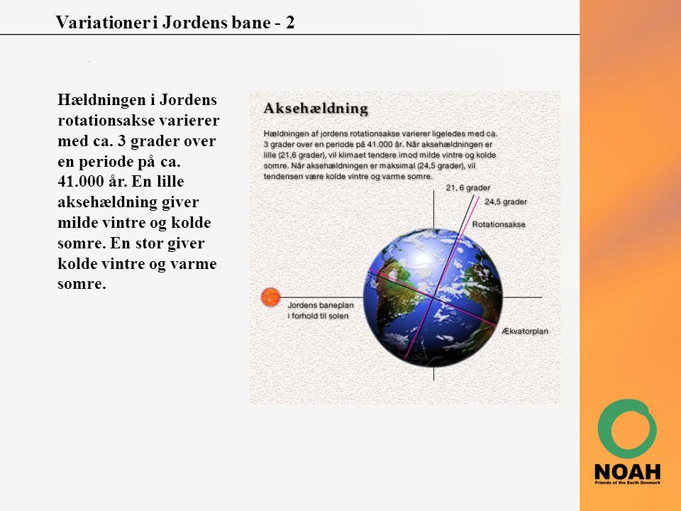 Variationer i Jordens bane - 2 Hældningen i Jordens rotationsakse varierer med ca. 3 grader over en periode på ca. 41.000 år. En lille aksehældning gi