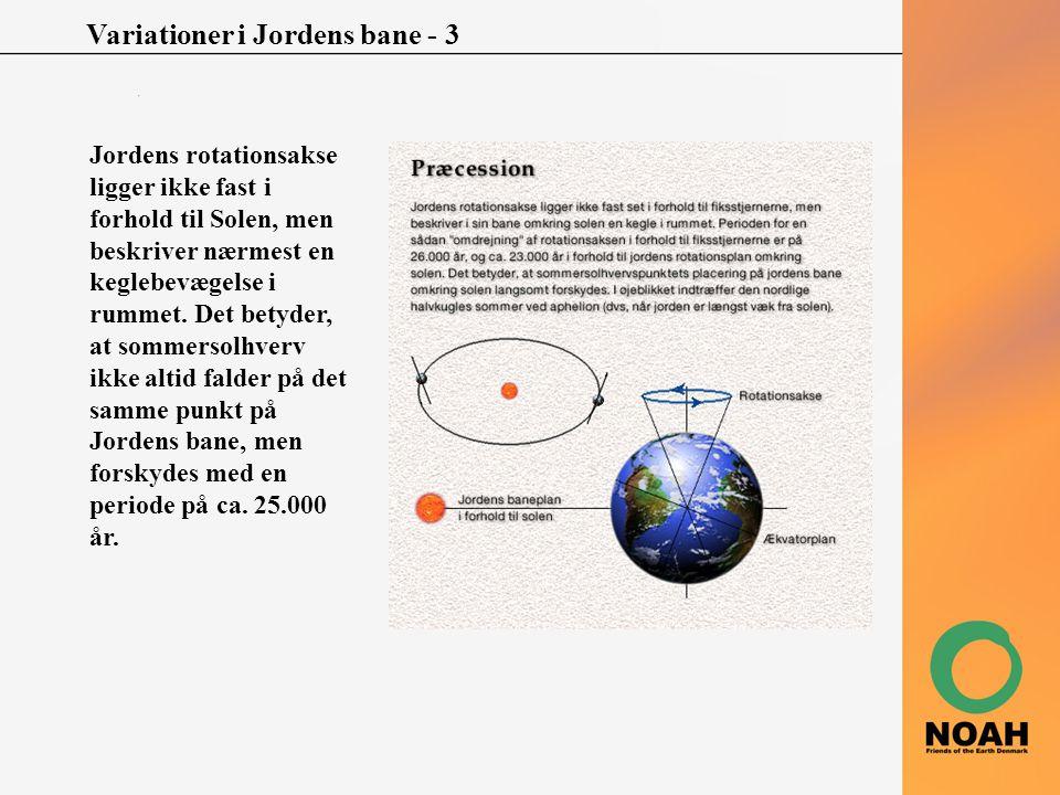 Variationer i Jordens bane - 3 Jordens rotationsakse ligger ikke fast i forhold til Solen, men beskriver nærmest en keglebevægelse i rummet. Det betyd
