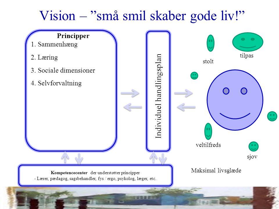 Vision – små smil skaber gode liv! Kompetencecenter der understøtter principper - Lærer, pædagog, sagsbehandler, fys / ergo, psykolog, læger, etc.