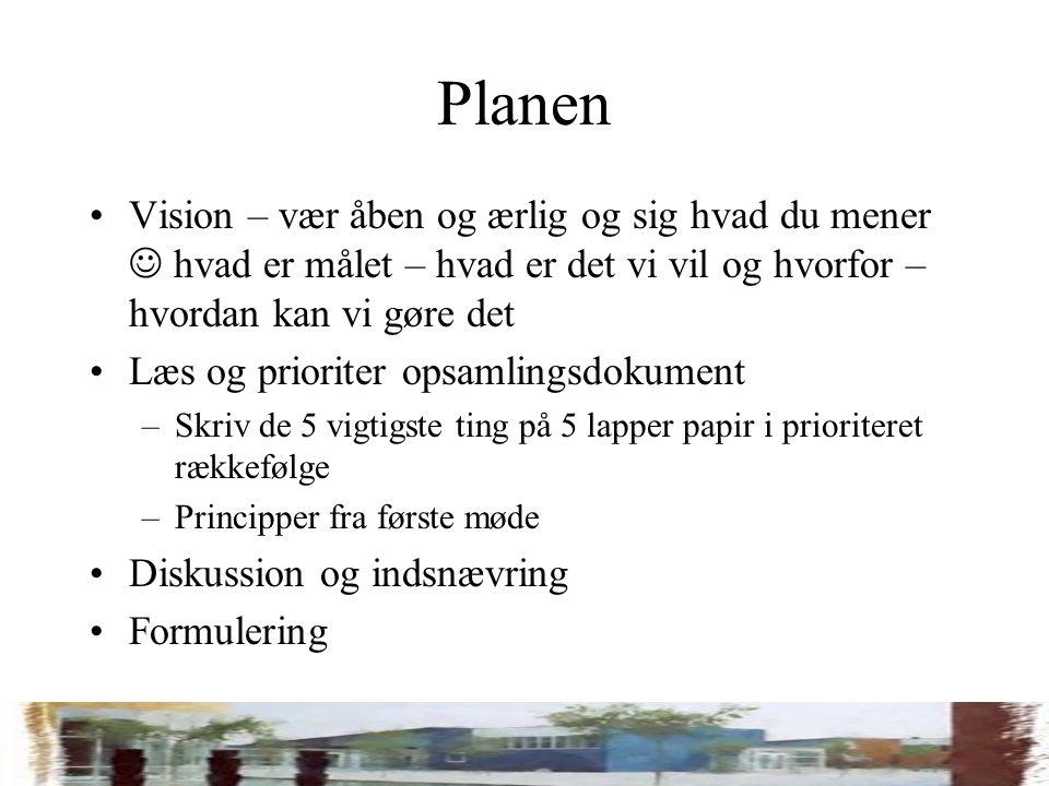 Planen Vision – vær åben og ærlig og sig hvad du mener hvad er målet – hvad er det vi vil og hvorfor – hvordan kan vi gøre det Læs og prioriter opsamlingsdokument –Skriv de 5 vigtigste ting på 5 lapper papir i prioriteret rækkefølge –Principper fra første møde Diskussion og indsnævring Formulering