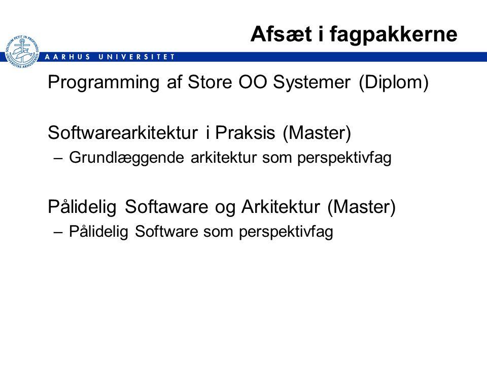 Afsæt i fagpakkerne Programming af Store OO Systemer (Diplom) Softwarearkitektur i Praksis (Master) –Grundlæggende arkitektur som perspektivfag Pålidelig Softaware og Arkitektur (Master) –Pålidelig Software som perspektivfag