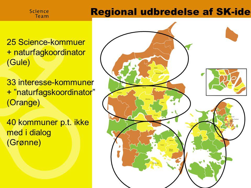 Regional udbredelse af SK-ide 25 Science-kommuer + naturfagkoordinator (Gule) 33 interesse-kommuner + naturfagskoordinator (Orange) 40 kommuner p.t.