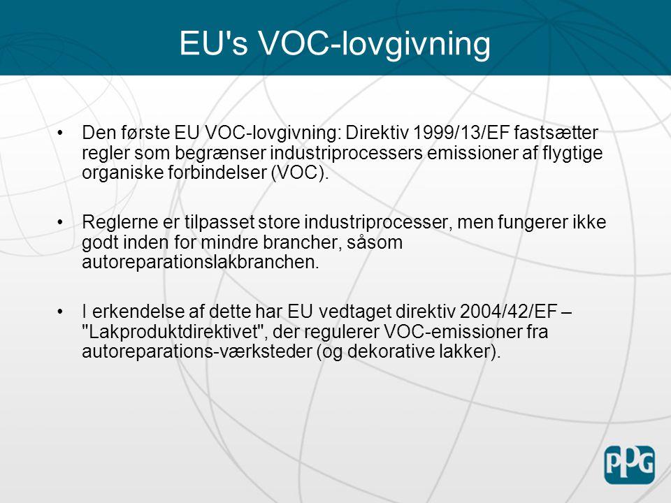 EU s VOC-lovgivning Den første EU VOC-lovgivning: Direktiv 1999/13/EF fastsætter regler som begrænser industriprocessers emissioner af flygtige organiske forbindelser (VOC).