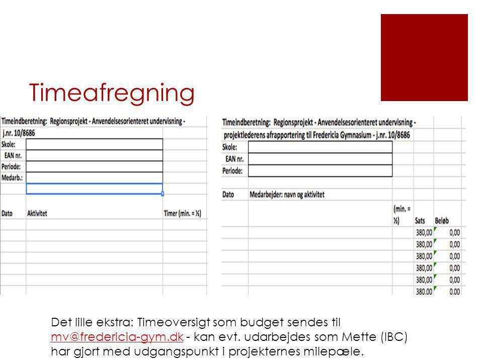 Timeafregning Det lille ekstra: Timeoversigt som budget sendes til mv@fredericia-gym.dk - kan evt.