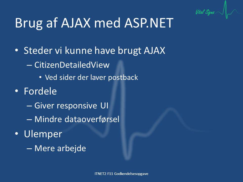 Brug af AJAX med ASP.NET Steder vi kunne have brugt AJAX – CitizenDetailedView Ved sider der laver postback Fordele – Giver responsive UI – Mindre dataoverførsel Ulemper – Mere arbejde ITNET2 F11 Godkendelsesopgave