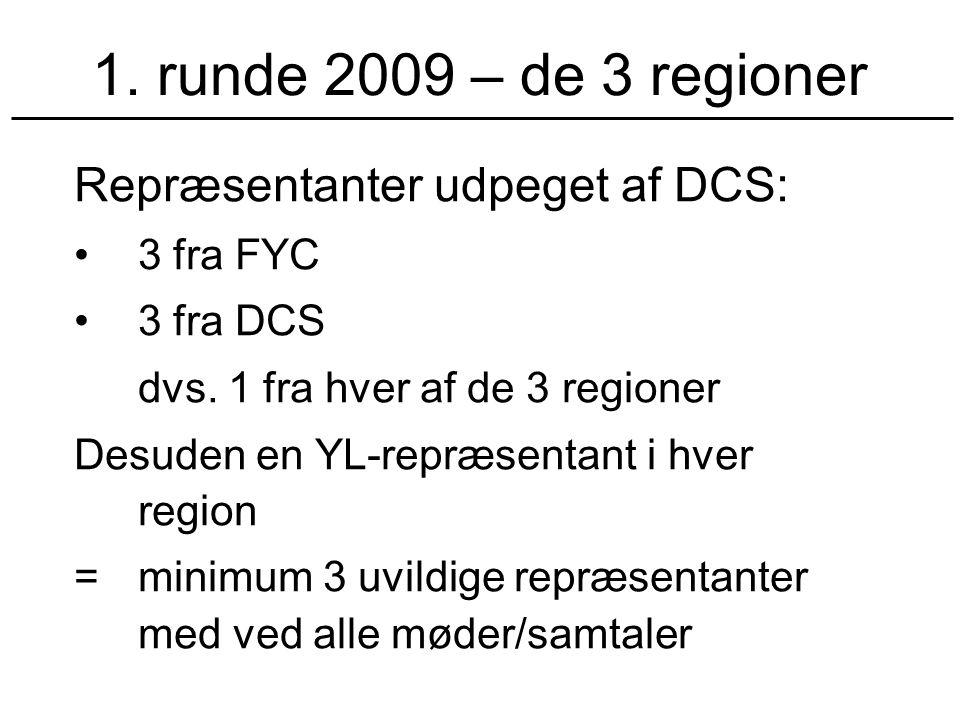 1. runde 2009 – de 3 regioner Repræsentanter udpeget af DCS: 3 fra FYC 3 fra DCS dvs.