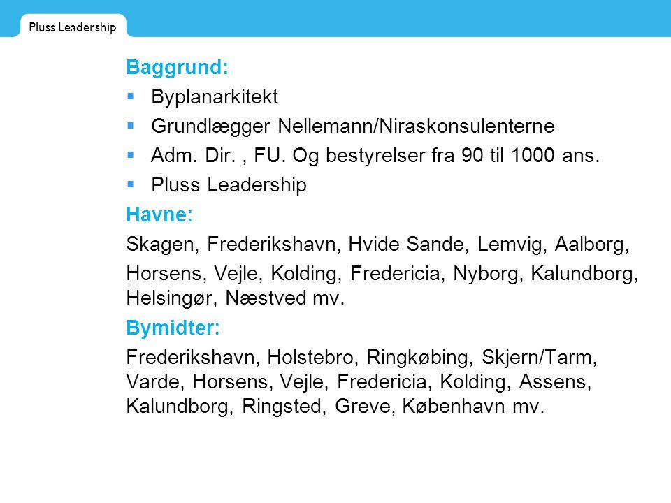 Pluss Leadership Baggrund:  Byplanarkitekt  Grundlægger Nellemann/Niraskonsulenterne  Adm.