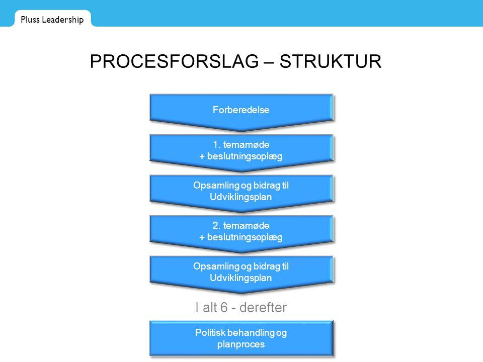 Pluss Leadership PROCESFORSLAG – STRUKTUR Forberedelse 1.