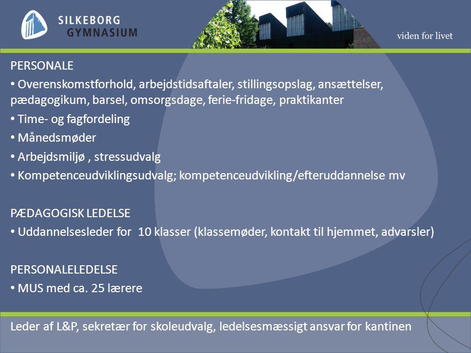 PERSONALE Overenskomstforhold, arbejdstidsaftaler, stillingsopslag, ansættelser, pædagogikum, barsel, omsorgsdage, ferie-fridage, praktikanter Time- og fagfordeling Månedsmøder Arbejdsmiljø, stressudvalg Kompetenceudviklingsudvalg; kompetenceudvikling/efteruddannelse mv PÆDAGOGISK LEDELSE Uddannelsesleder for 10 klasser (klassemøder, kontakt til hjemmet, advarsler) PERSONALELEDELSE MUS med ca.