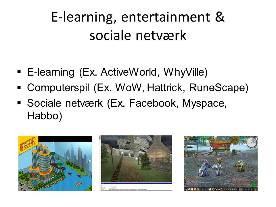 E-learning, entertainment & sociale netværk  E-learning (Ex.