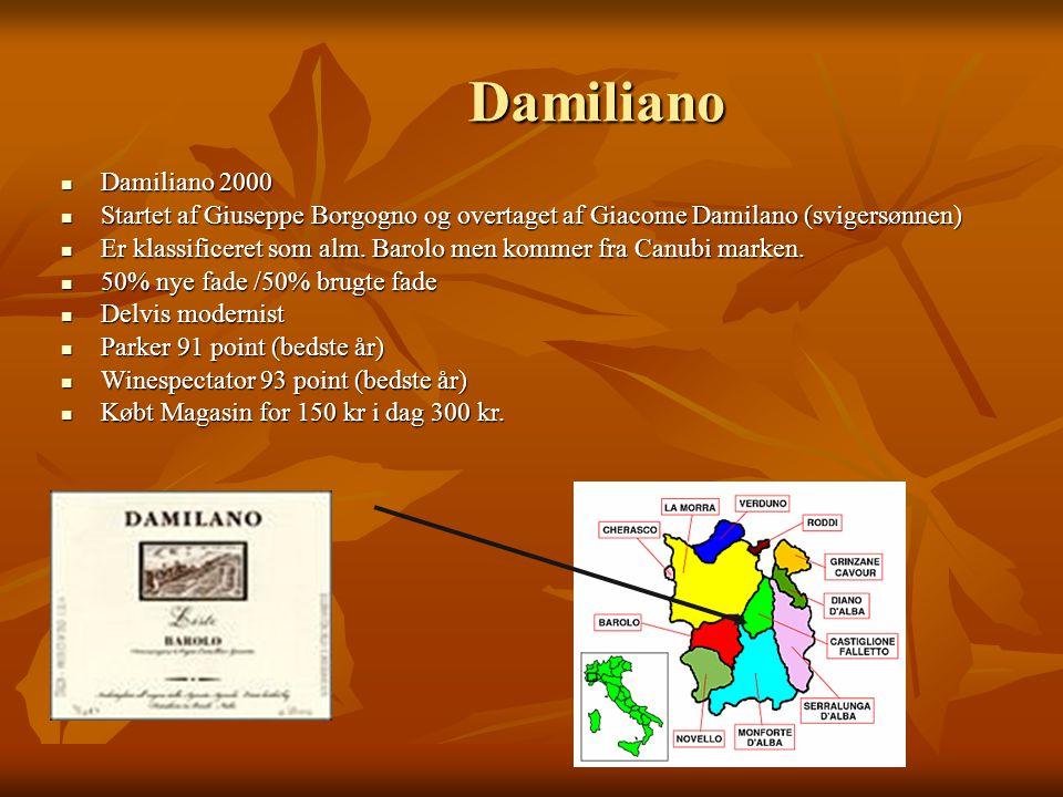Damiliano Damiliano 2000 Damiliano 2000 Startet af Giuseppe Borgogno og overtaget af Giacome Damilano (svigersønnen) Startet af Giuseppe Borgogno og overtaget af Giacome Damilano (svigersønnen) Er klassificeret som alm.