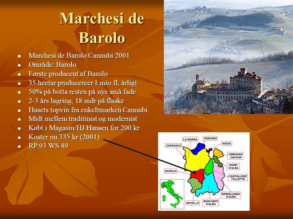 Marchesi de Barolo Marchesi de Barolo Cannubi 2001 Marchesi de Barolo Cannubi 2001 Område: Barolo Område: Barolo Første producent af Barolo Første producent af Barolo 35 hectar producereer 1 mio fl.