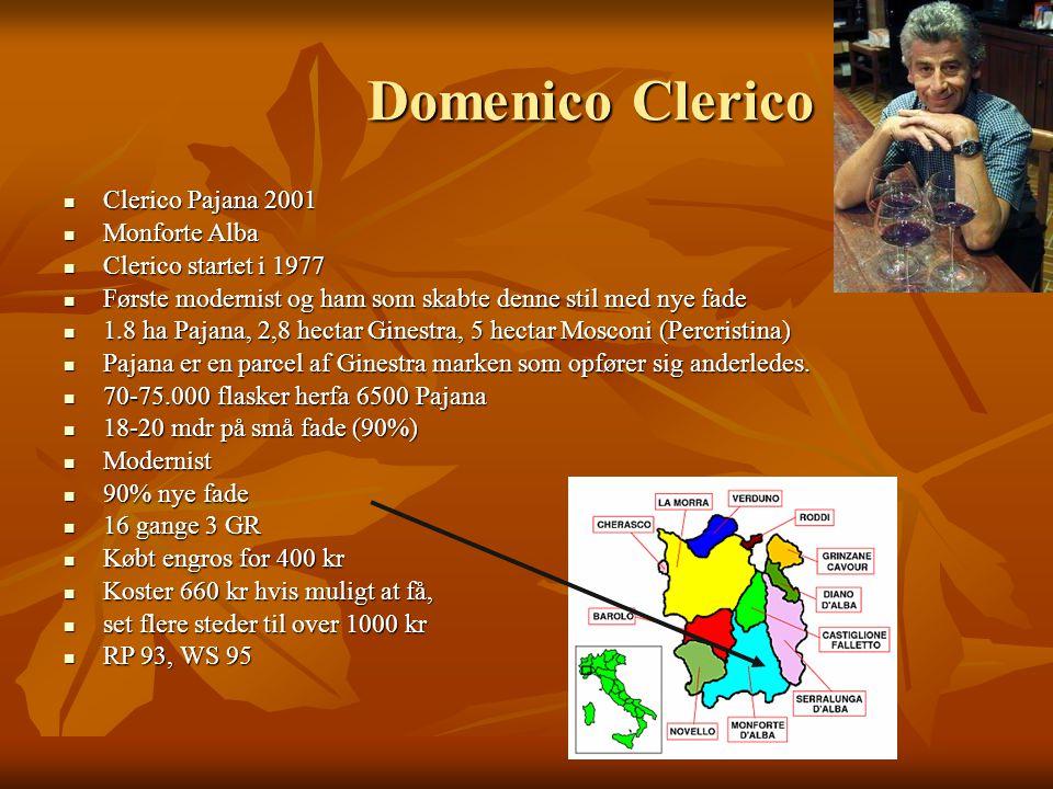 Domenico Clerico Clerico Pajana 2001 Clerico Pajana 2001 Monforte Alba Monforte Alba Clerico startet i 1977 Clerico startet i 1977 Første modernist og ham som skabte denne stil med nye fade Første modernist og ham som skabte denne stil med nye fade 1.8 ha Pajana, 2,8 hectar Ginestra, 5 hectar Mosconi (Percristina) 1.8 ha Pajana, 2,8 hectar Ginestra, 5 hectar Mosconi (Percristina) Pajana er en parcel af Ginestra marken som opfører sig anderledes.
