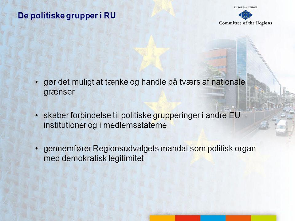 De politiske grupper i RU gør det muligt at tænke og handle på tværs af nationale grænser skaber forbindelse til politiske grupperinger i andre EU- institutioner og i medlemsstaterne gennemfører Regionsudvalgets mandat som politisk organ med demokratisk legitimitet
