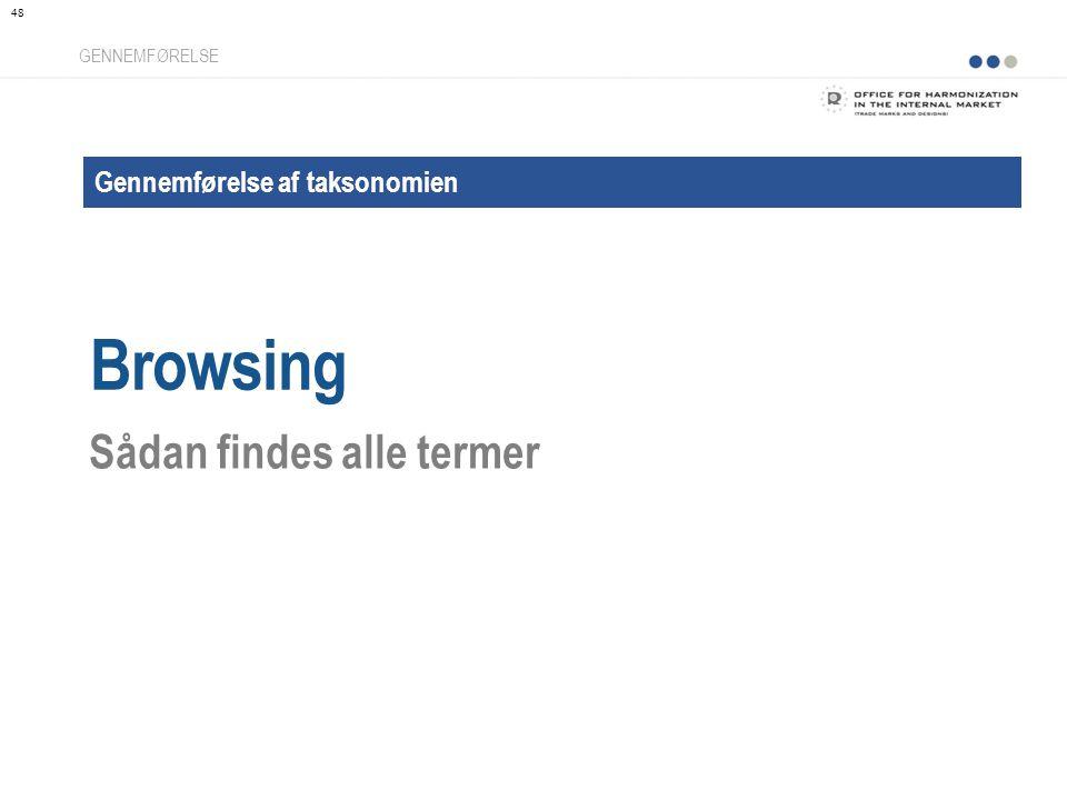 Gennemførelse af taksonomien Browsing GENNEMFØRELSE Sådan findes alle termer 48