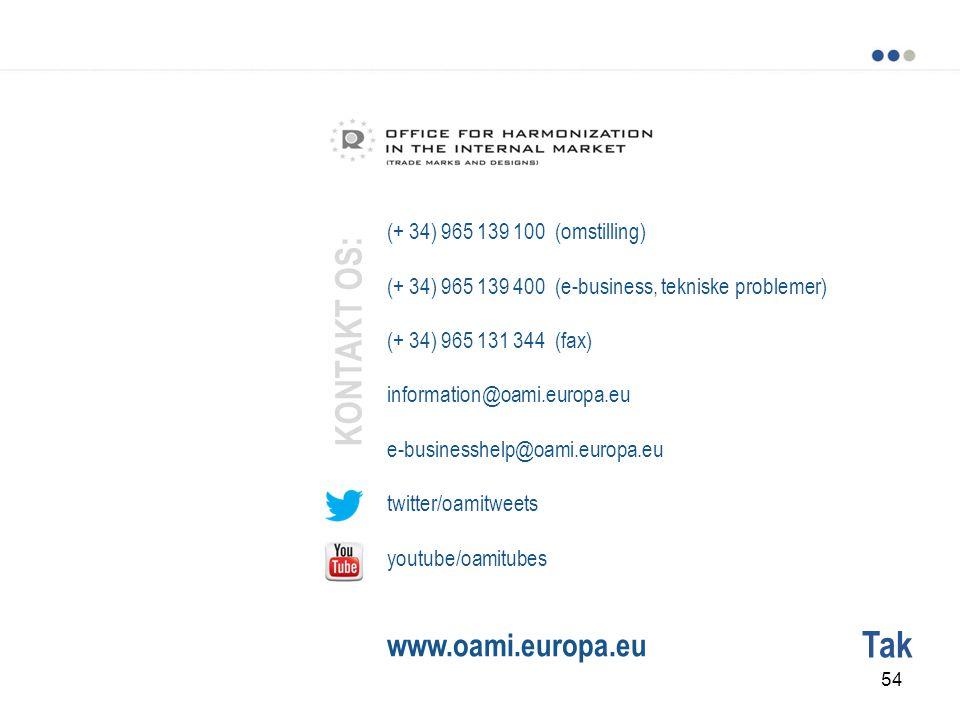Tak (+ 34) 965 139 100 (omstilling) (+ 34) 965 139 400 (e-business, tekniske problemer) (+ 34) 965 131 344 (fax) information@oami.europa.eu e-businesshelp@oami.europa.eu twitter/oamitweets youtube/oamitubes www.oami.europa.eu KONTAKT OS: 54