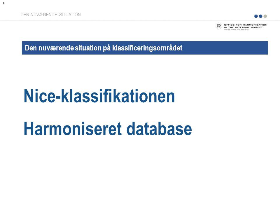 Nice-klassifikationen DEN NUVÆRENDE SITUATION Den nuværende situation på klassificeringsområdet Harmoniseret database 6