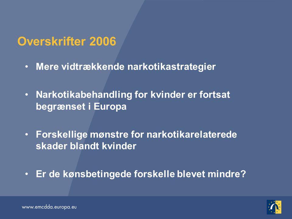 Overskrifter 2006 Mere vidtrækkende narkotikastrategier Narkotikabehandling for kvinder er fortsat begrænset i Europa Forskellige mønstre for narkotikarelaterede skader blandt kvinder Er de kønsbetingede forskelle blevet mindre