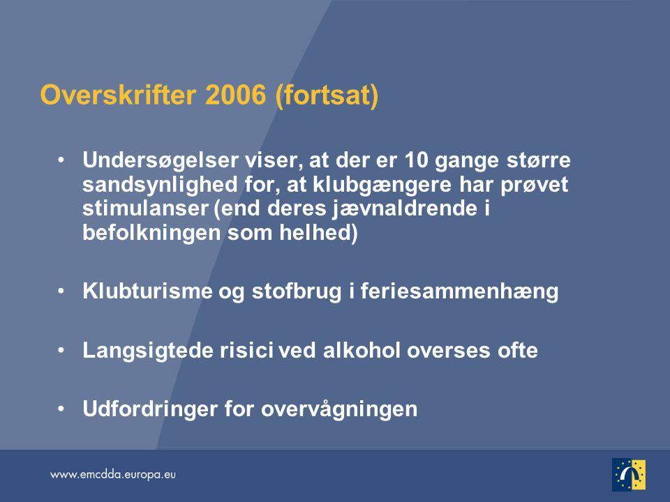 Overskrifter 2006 (fortsat) Undersøgelser viser, at der er 10 gange større sandsynlighed for, at klubgængere har prøvet stimulanser (end deres jævnaldrende i befolkningen som helhed) Klubturisme og stofbrug i feriesammenhæng Langsigtede risici ved alkohol overses ofte Udfordringer for overvågningen