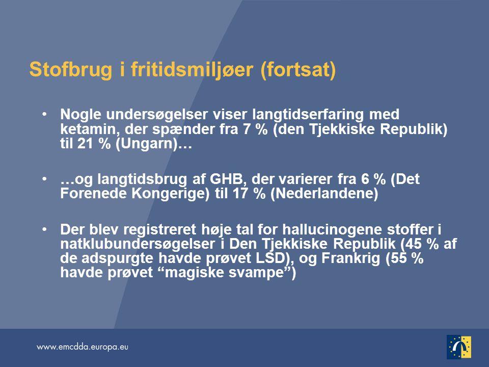 Stofbrug i fritidsmiljøer (fortsat) Nogle undersøgelser viser langtidserfaring med ketamin, der spænder fra 7 % (den Tjekkiske Republik) til 21 % (Ungarn)… …og langtidsbrug af GHB, der varierer fra 6 % (Det Forenede Kongerige) til 17 % (Nederlandene) Der blev registreret høje tal for hallucinogene stoffer i natklubundersøgelser i Den Tjekkiske Republik (45 % af de adspurgte havde prøvet LSD), og Frankrig (55 % havde prøvet magiske svampe )