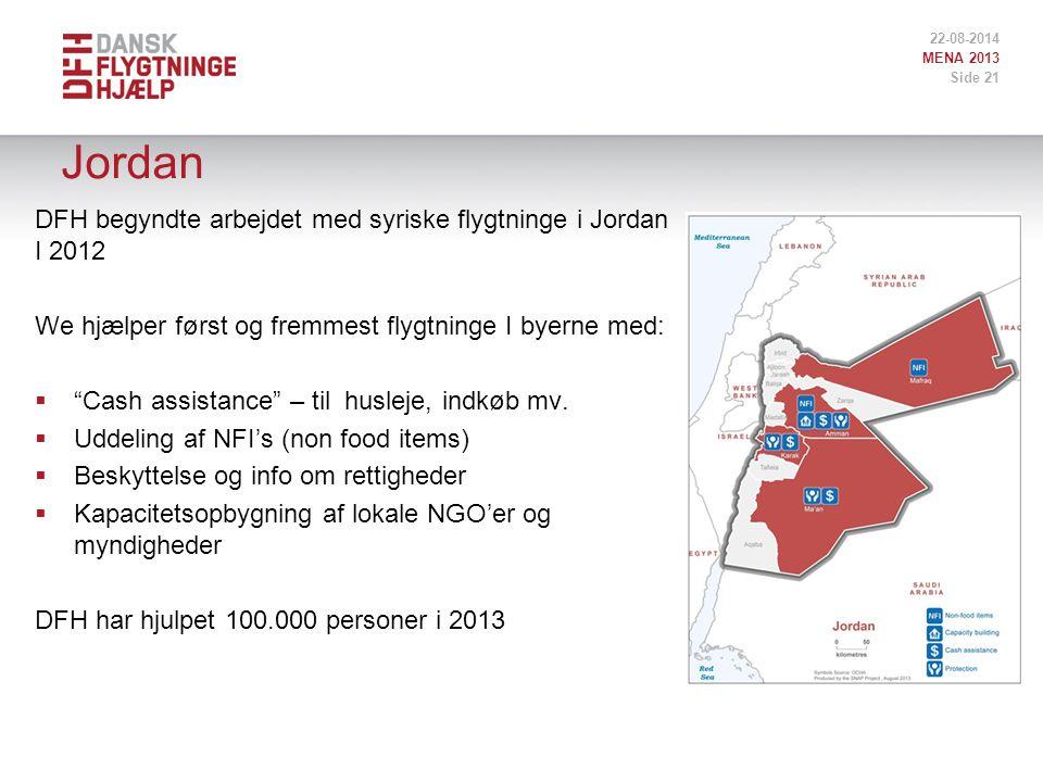 Jordan DFH begyndte arbejdet med syriske flygtninge i Jordan I 2012 We hjælper først og fremmest flygtninge I byerne med:  Cash assistance – til husleje, indkøb mv.