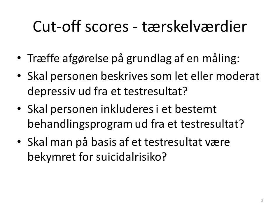 Træffe afgørelse på grundlag af en måling: Skal personen beskrives som let eller moderat depressiv ud fra et testresultat.