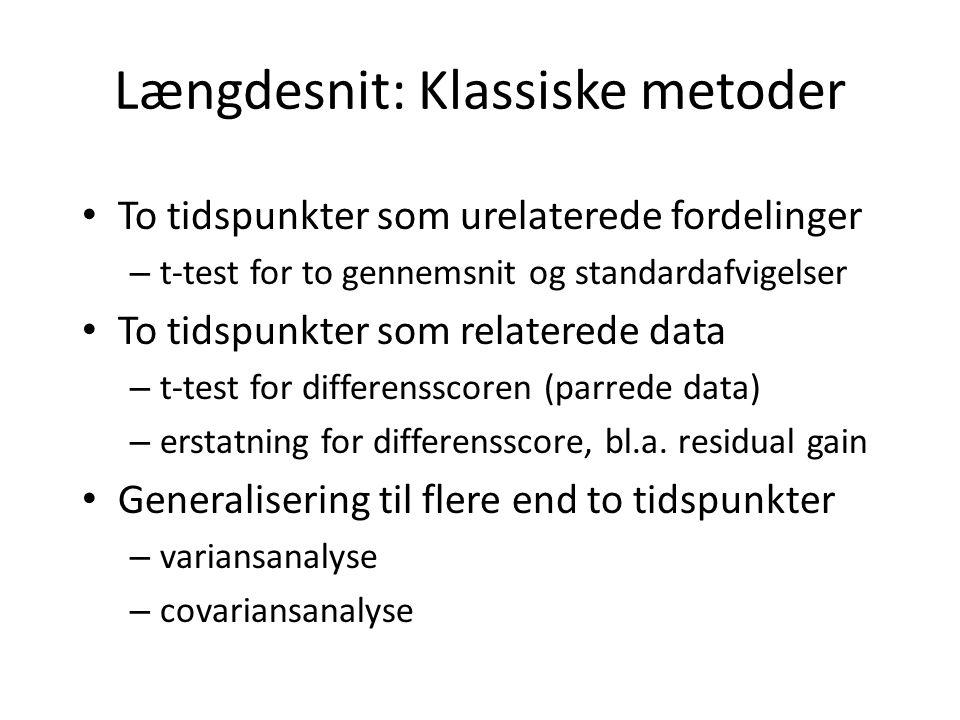Længdesnit: Klassiske metoder To tidspunkter som urelaterede fordelinger – t-test for to gennemsnit og standardafvigelser To tidspunkter som relaterede data – t-test for differensscoren (parrede data) – erstatning for differensscore, bl.a.