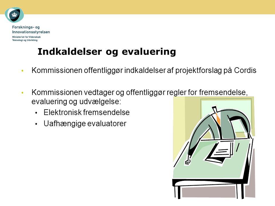 Kommissionen offentliggør indkaldelser af projektforslag på Cordis Kommissionen vedtager og offentliggør regler for fremsendelse, evaluering og udvælgelse: Elektronisk fremsendelse Uafhængige evaluatorer Indkaldelser og evaluering
