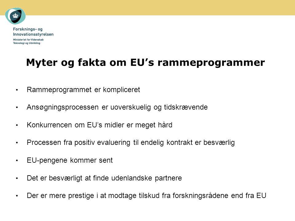 Myter og fakta om EU's rammeprogrammer Rammeprogrammet er kompliceret Ansøgningsprocessen er uoverskuelig og tidskrævende Konkurrencen om EU's midler er meget hård Processen fra positiv evaluering til endelig kontrakt er besværlig EU-pengene kommer sent Det er besværligt at finde udenlandske partnere Der er mere prestige i at modtage tilskud fra forskningsrådene end fra EU
