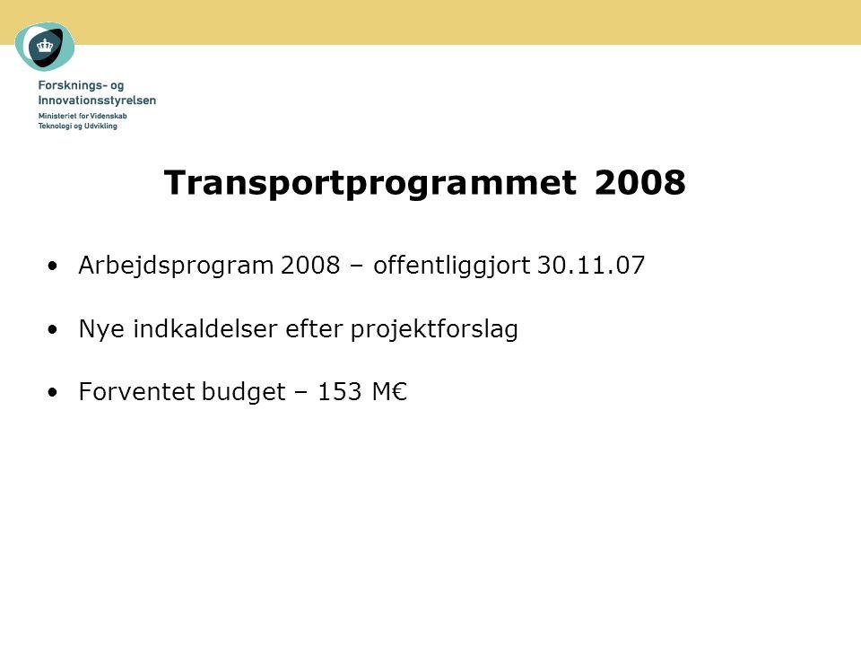 Transportprogrammet 2008 Arbejdsprogram 2008 – offentliggjort 30.11.07 Nye indkaldelser efter projektforslag Forventet budget – 153 M€