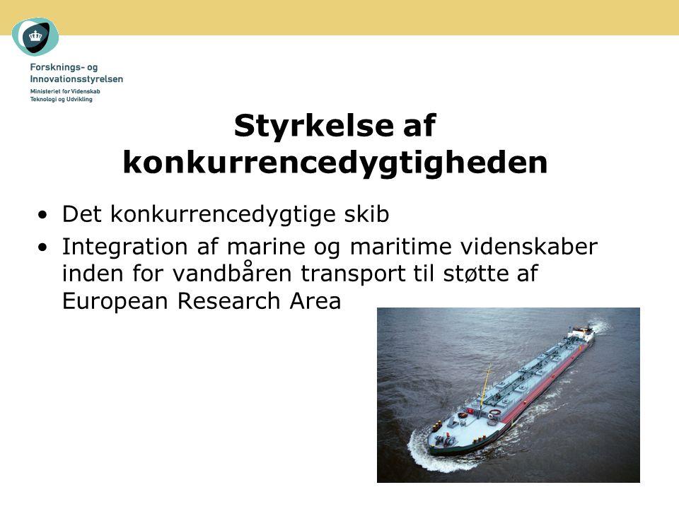 Styrkelse af konkurrencedygtigheden Det konkurrencedygtige skib Integration af marine og maritime videnskaber inden for vandbåren transport til støtte af European Research Area