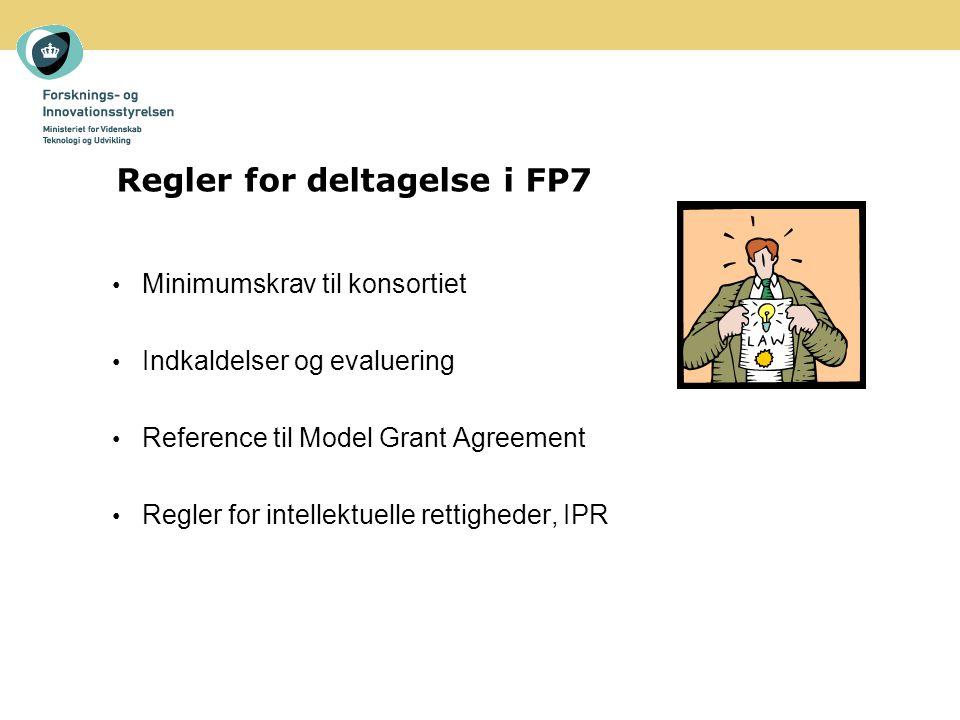 Minimumskrav til konsortiet Indkaldelser og evaluering Reference til Model Grant Agreement Regler for intellektuelle rettigheder, IPR Regler for deltagelse i FP7