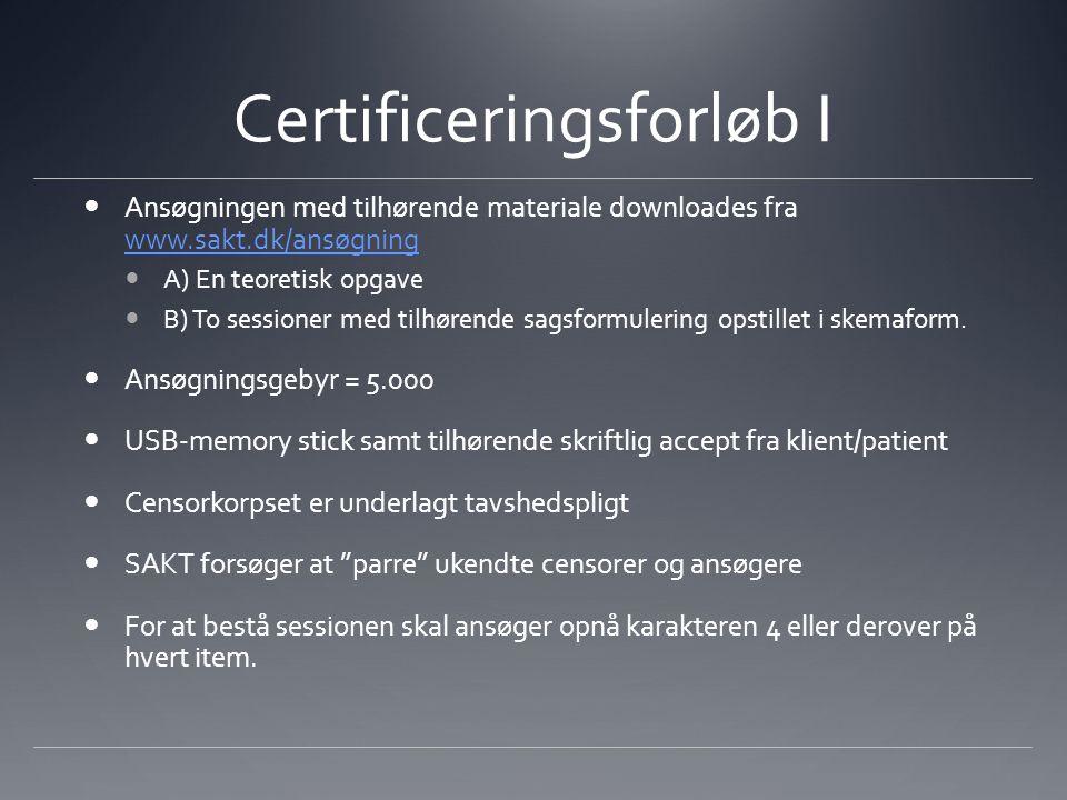Certificeringsforløb I Ansøgningen med tilhørende materiale downloades fra www.sakt.dk/ansøgning www.sakt.dk/ansøgning A) En teoretisk opgave B) To sessioner med tilhørende sagsformulering opstillet i skemaform.